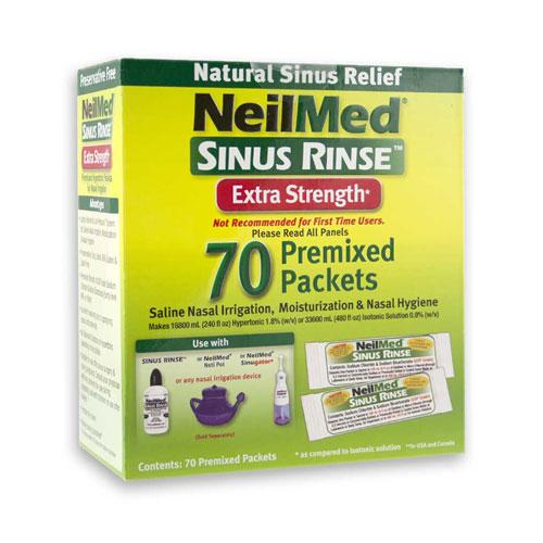 Preplach nosa Sinus Rinse, Hypertonický, náhradné sáčky, 70 sáčkov - NeilMed
