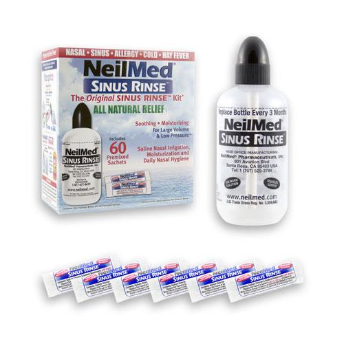 Preplach nosa Sinus Rinse, Izotonický, fľaša + 60 sáčkov - NeilMed